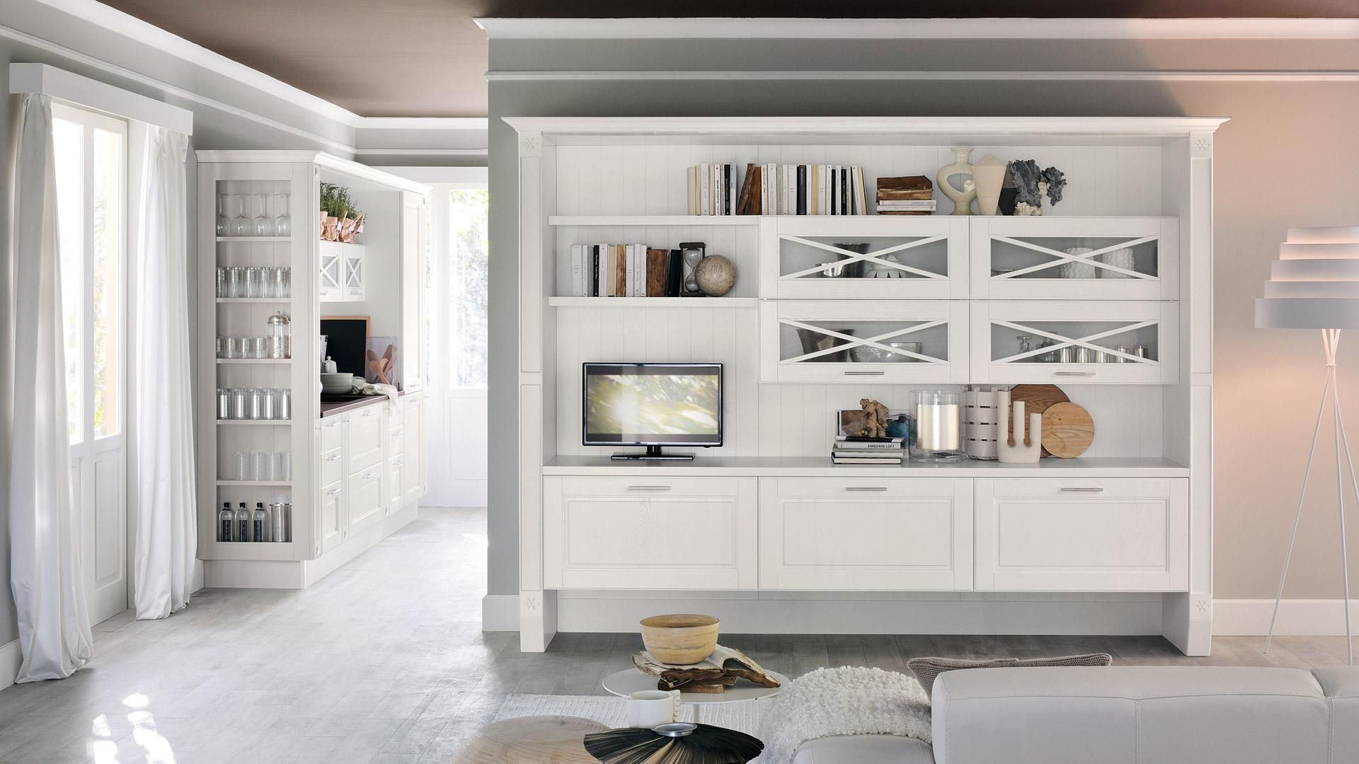 Wall-mounted bookcase / traditional / wooden - AGNESE - CUCINE LUBE