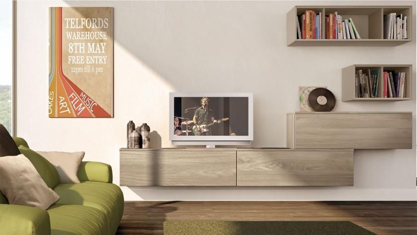 Contemporary TV wall unit / lacquered wood - NOEMI - CUCINE LUBE