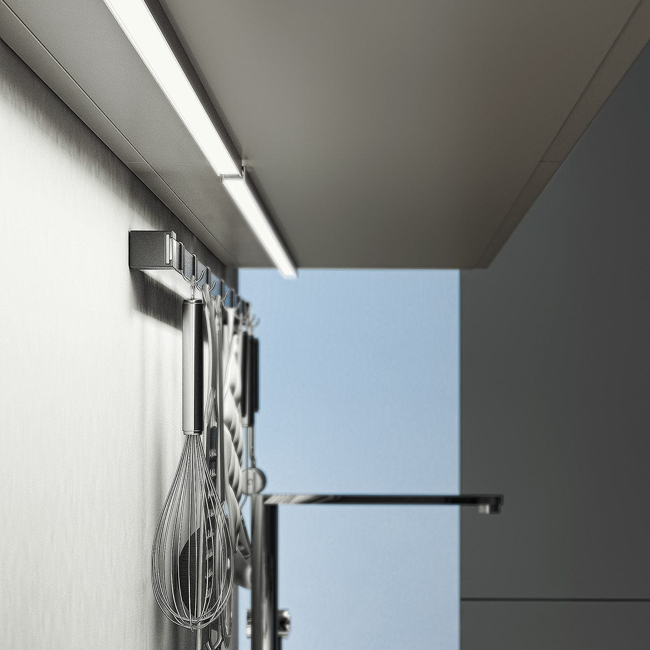 Wall-mounted lighting profile / ceiling / fluorescent / home ...