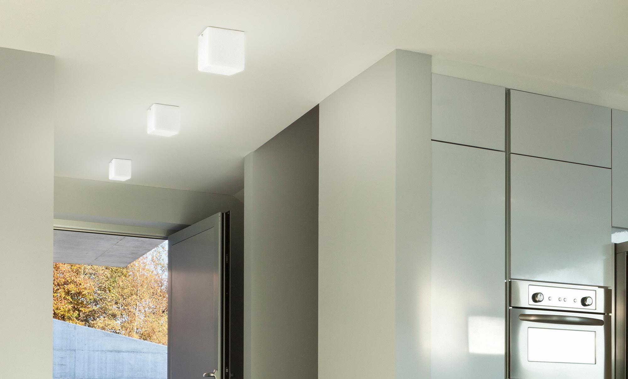 Contemporary wall light / glass / LED / square - KUBIK - PANZERI