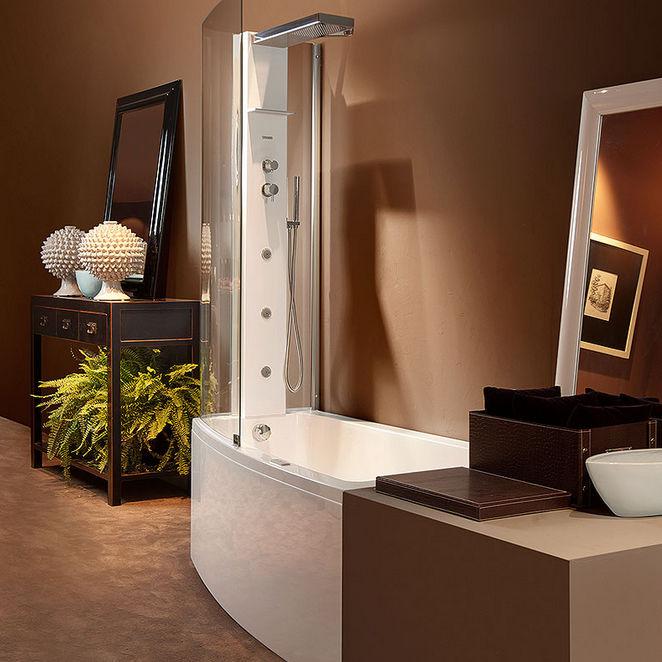 Built-in bathtub-shower combination / rectangular / acrylic - ASYX ...