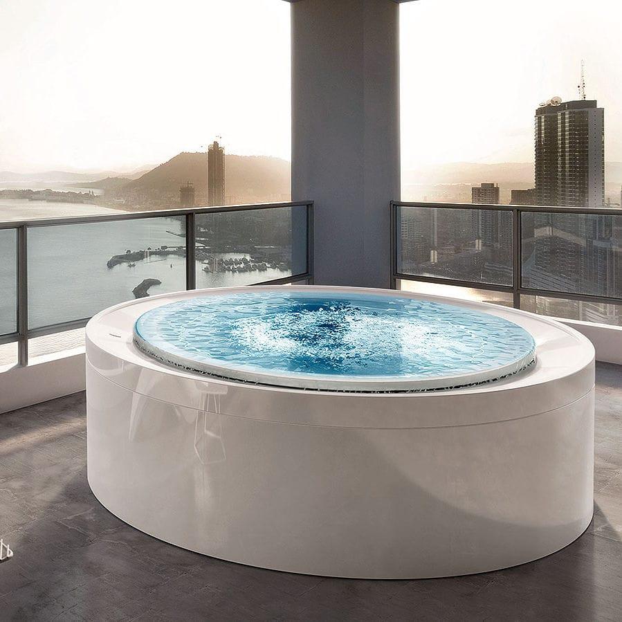 Free-standing bathtub / round / acrylic / hydromassage - FUSION SPA ...