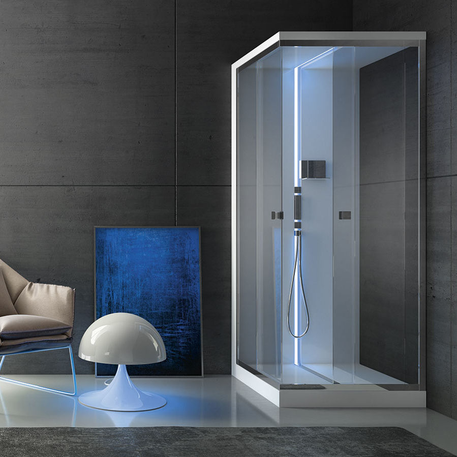 Multi-function shower cubicle / glass / chrome / corner - SCURETTO ...