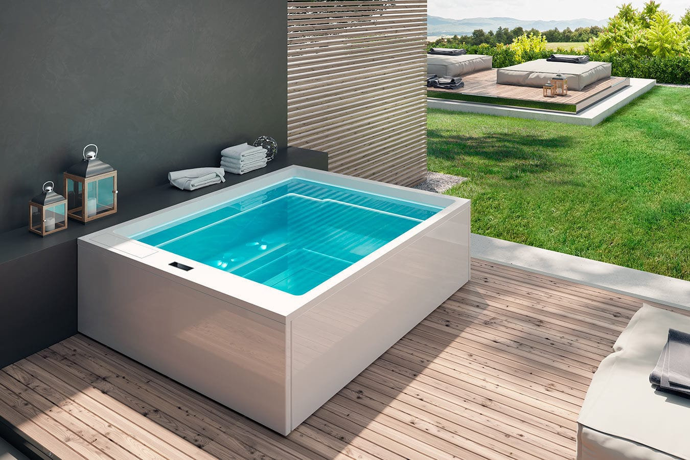 Above-ground hot tub / rectangular / 8-person / outdoor - MUSE by ...