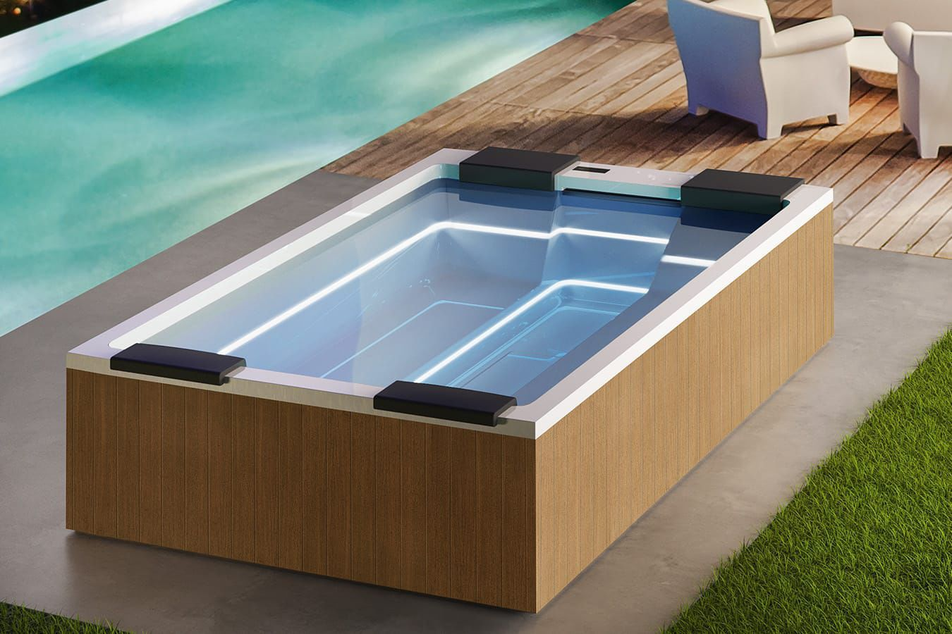 Above-ground hot tub / rectangular / 6-person / 5-person - MAYA ...