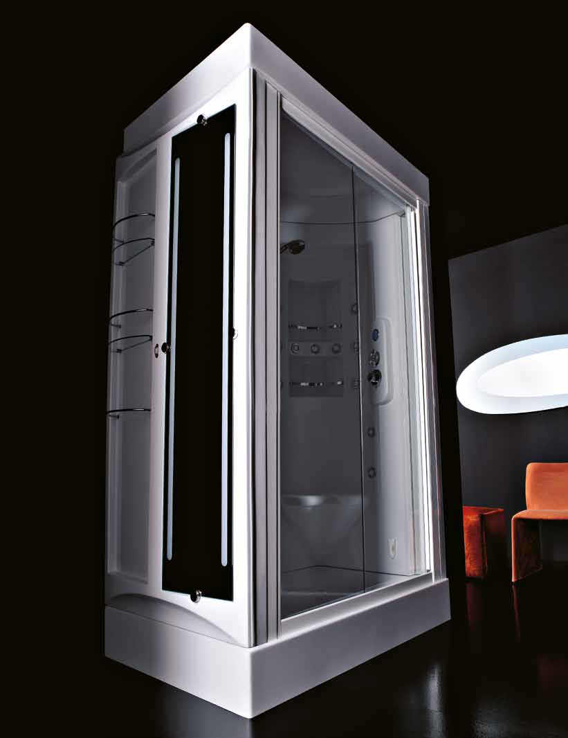 Multi-function shower cubicle / glass / rectangular / with hinged ...
