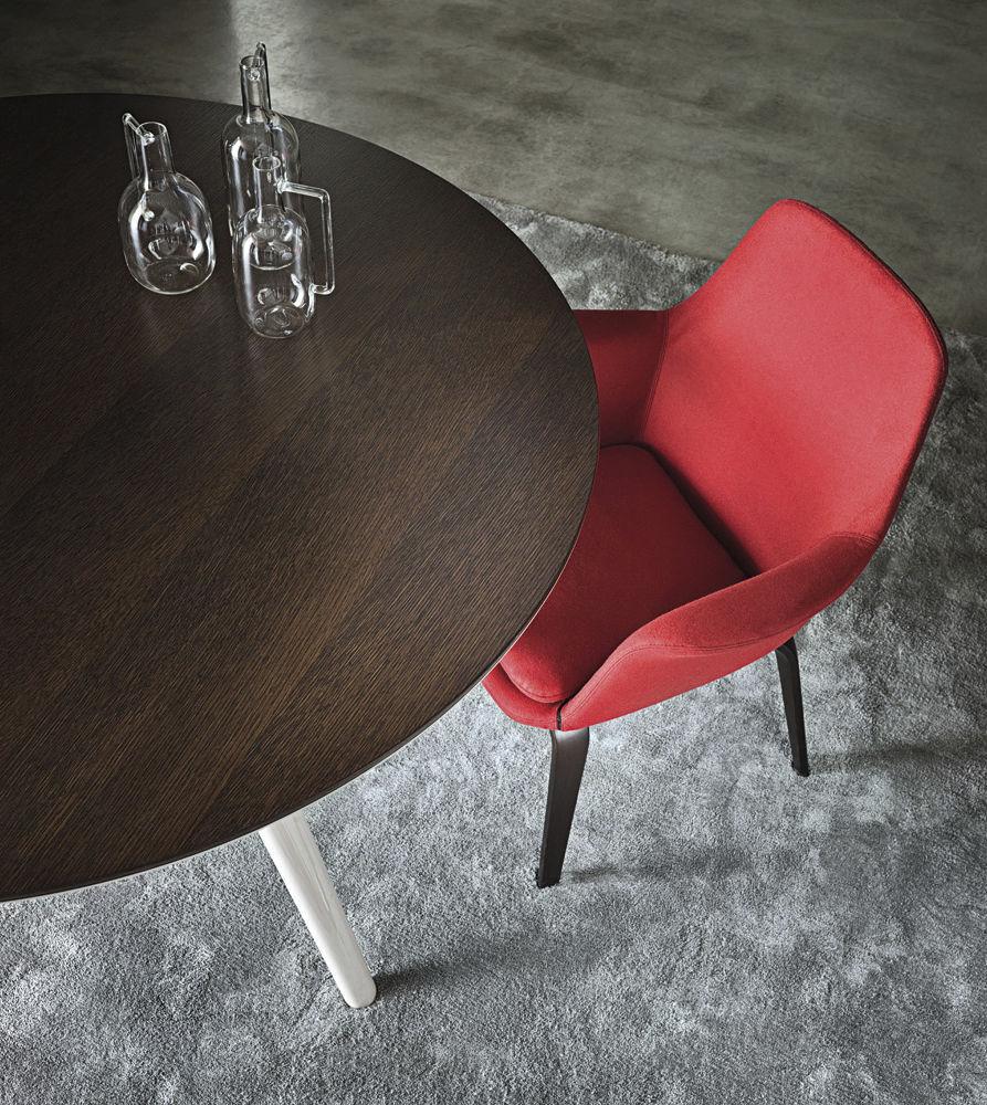 Contemporary chair / fabric / ash / leather - YORK - Minotti