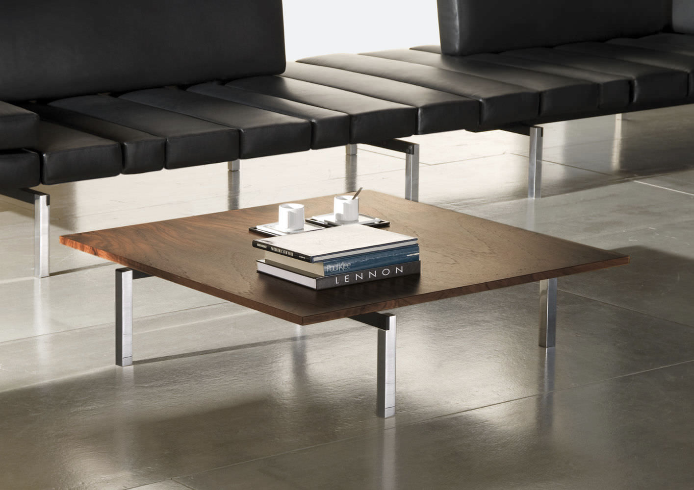 Hand Made Walnut And Steel Contemporary Coffee Table By Donald Mee