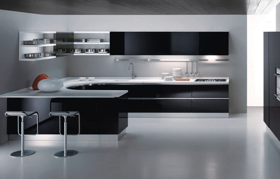 Contemporary Kitchen Laminate Ushaped Lacquered MAXIMA By - Cuisine maxima