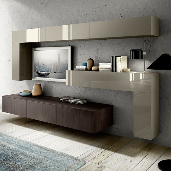 tv wall unit wooden lacquered wood mood by delta studio