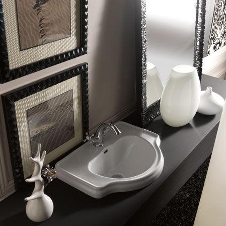 built in washbasin ceramic traditional with adjustable mirror retro 62 by alfredo anzellini massimiliano cicconi - Vasque Retro