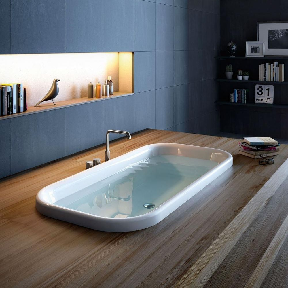 Free-standing bathtub / steel / acrylic / chromotherapy - PEARL by ...