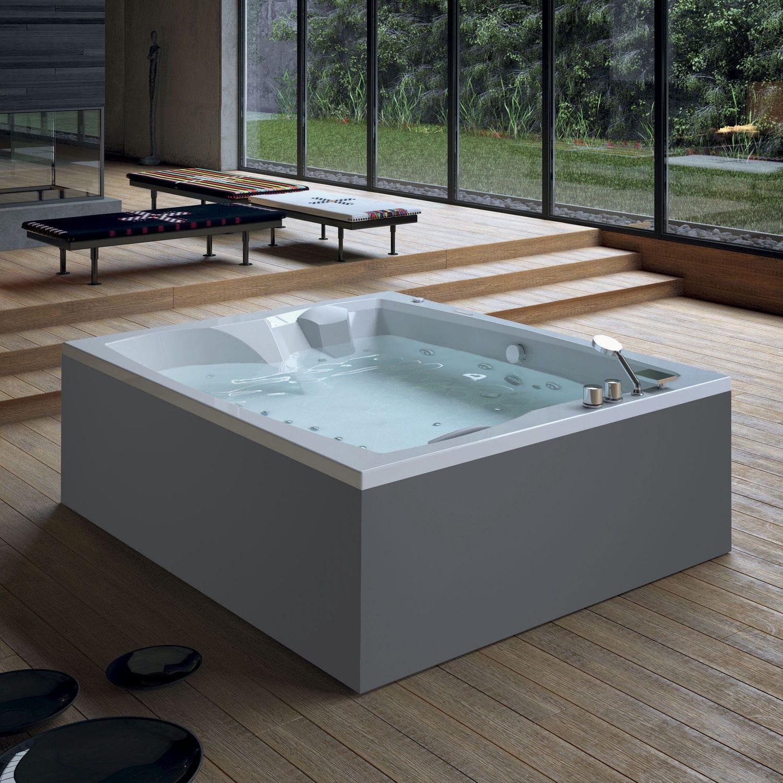 Free-standing bathtub / corner / wooden / acrylic - LINEA DUO ...