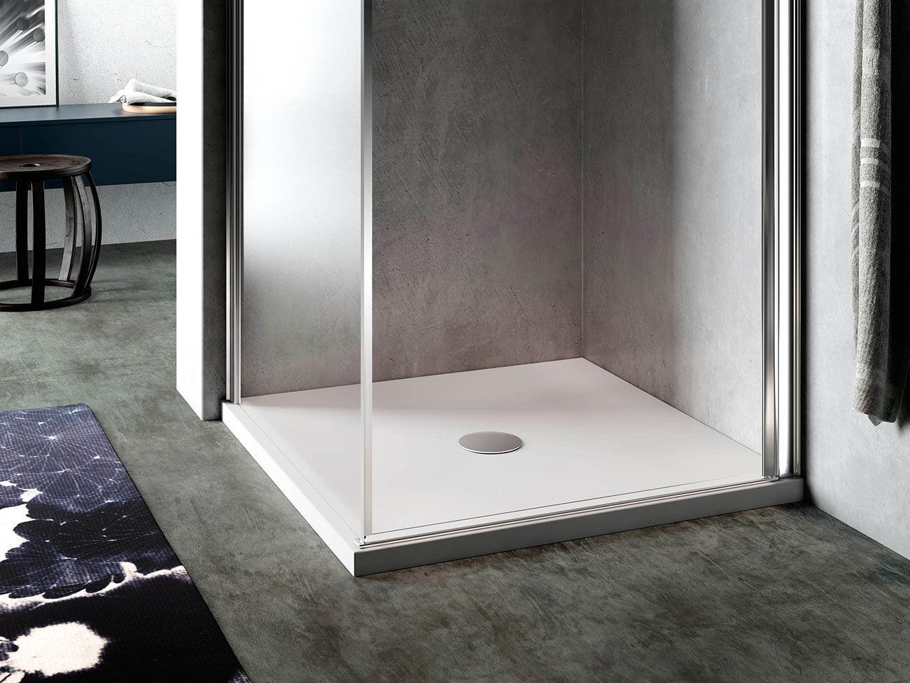 rectangular shower base acrylic with extraflat drain planor glass