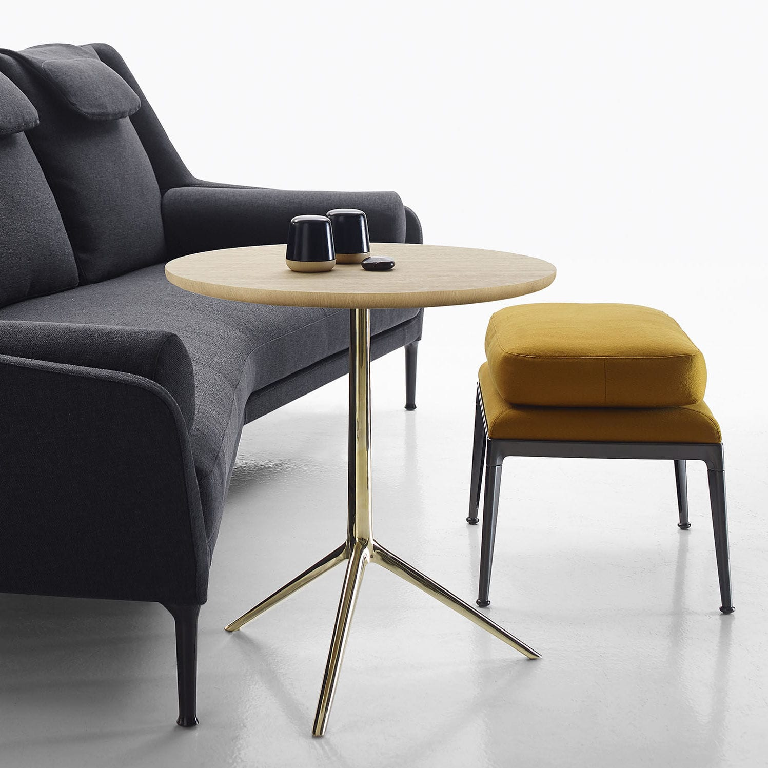 Contemporary Pedestal Table / Glass / Wood Veneer / Brass   COZY