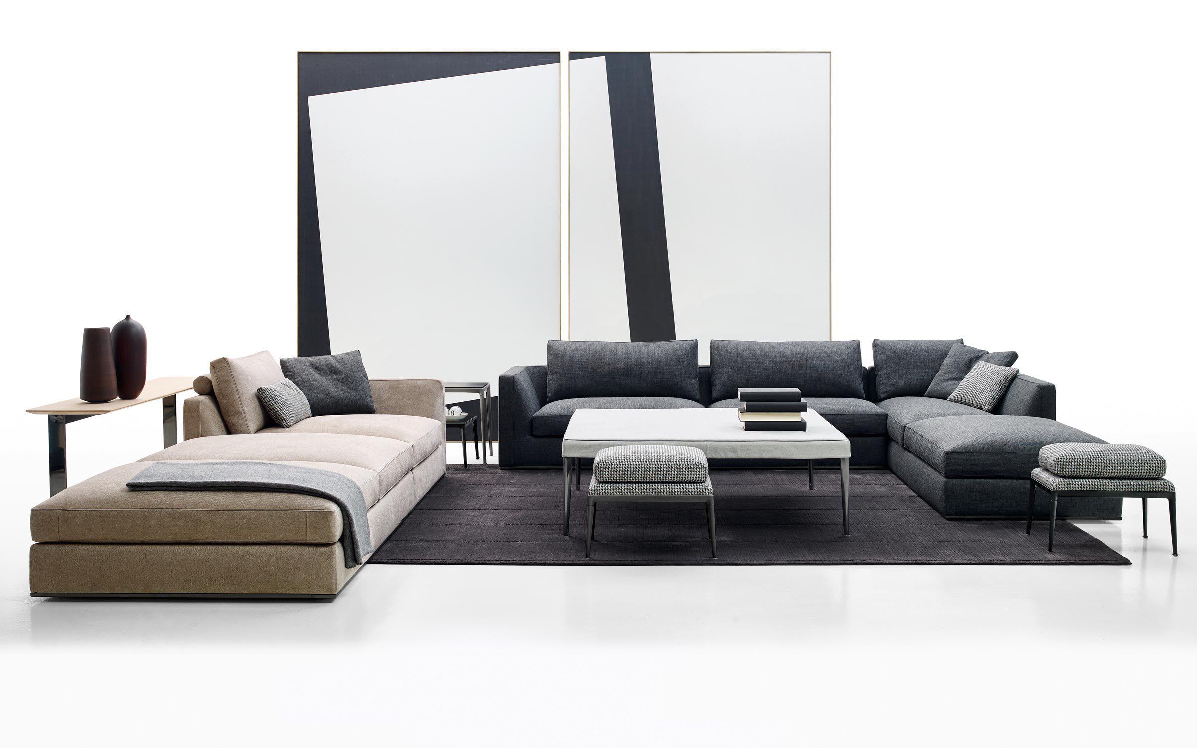 Modular sofa contemporary leather fabric RICHARD B&B Italia