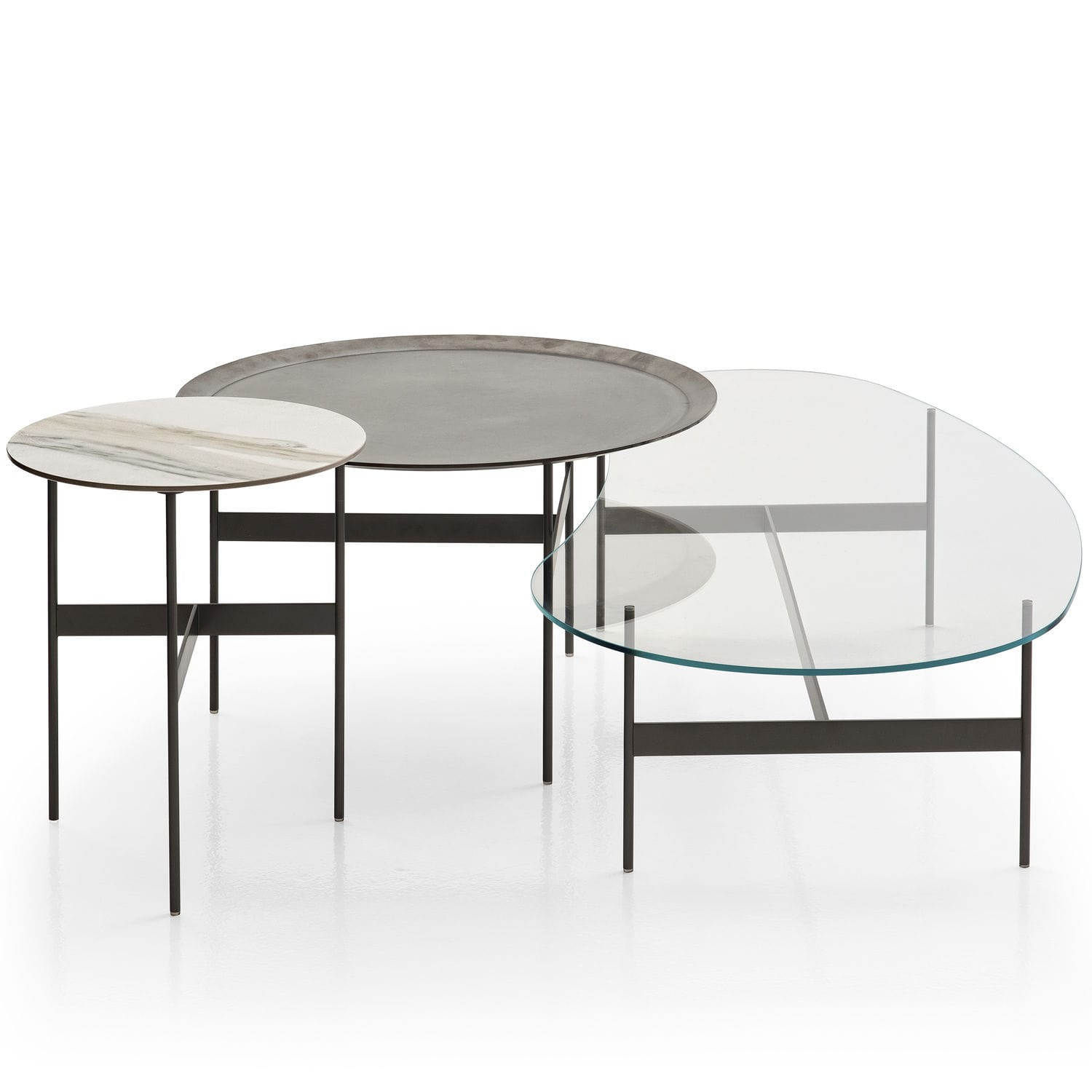 Contemporary coffee table oak glass painted steel FORMICHE