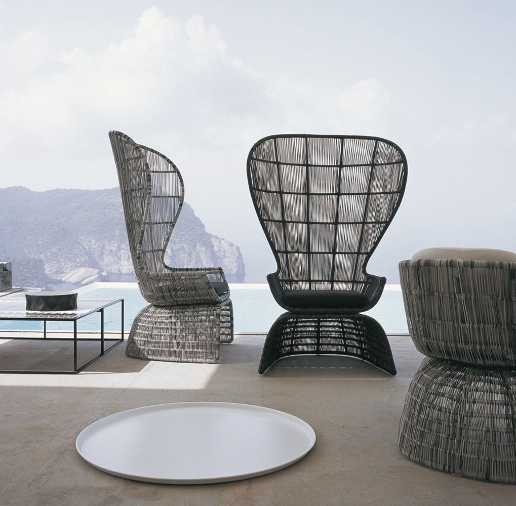 Original Design Armchair Polyethylene Abaca Fiber High Back