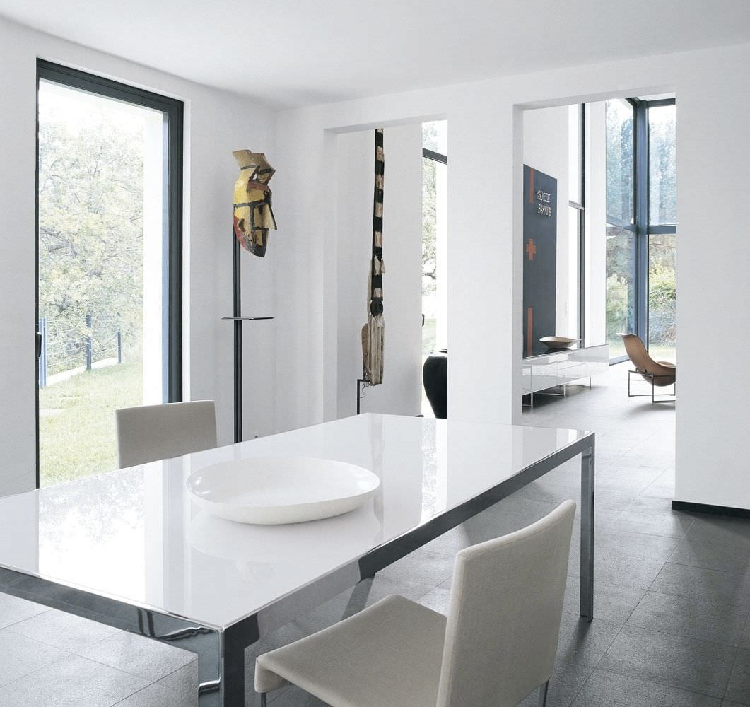 Contemporary table / glass / marble / chrome steel - THE TABLE by ...