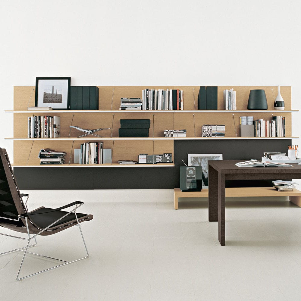 Wall Mounted Bookcase Contemporary Lacquered Wood Glass Pab