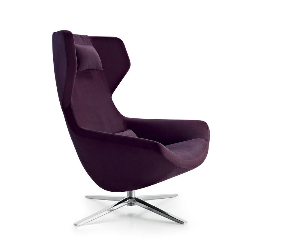 ... Contemporary Armchair / Fabric / Leather / High Back ...