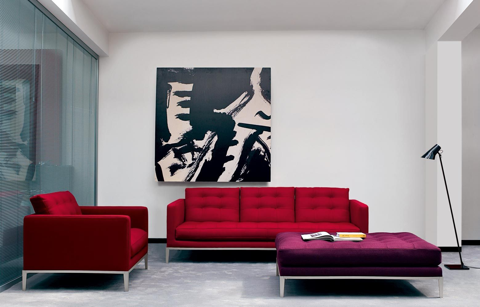 Contemporary sofa / leather / fabric / for public buildings - AC ...