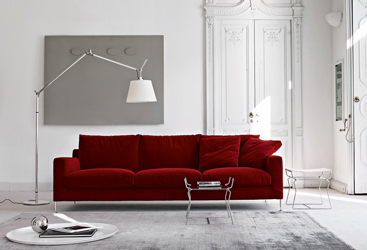 contemporary sofa leather fabric by antonio citterio harry