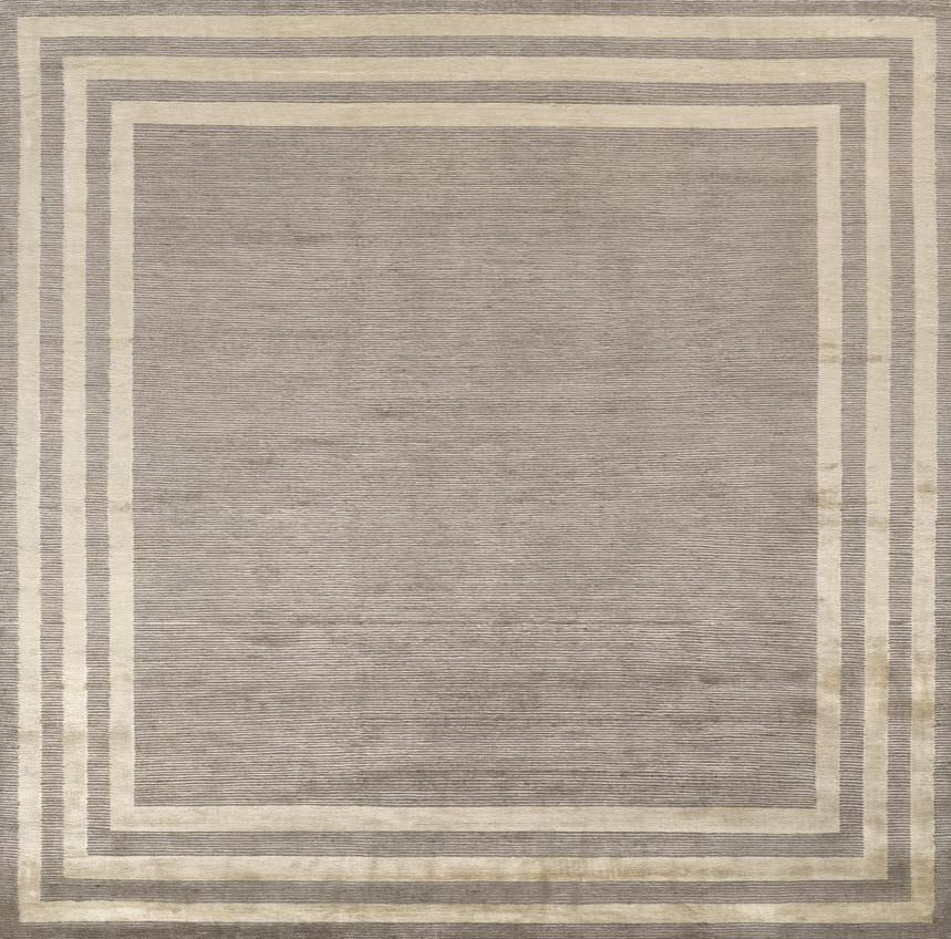 Contemporary Rug Patterned Wool Viscose Cadre