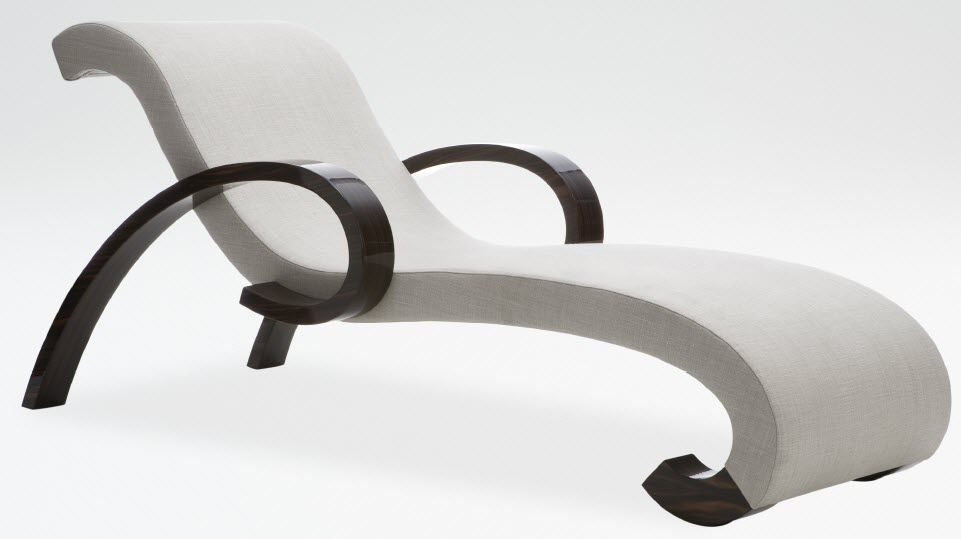 Contemporary Chaise Longue Fabric Wooden