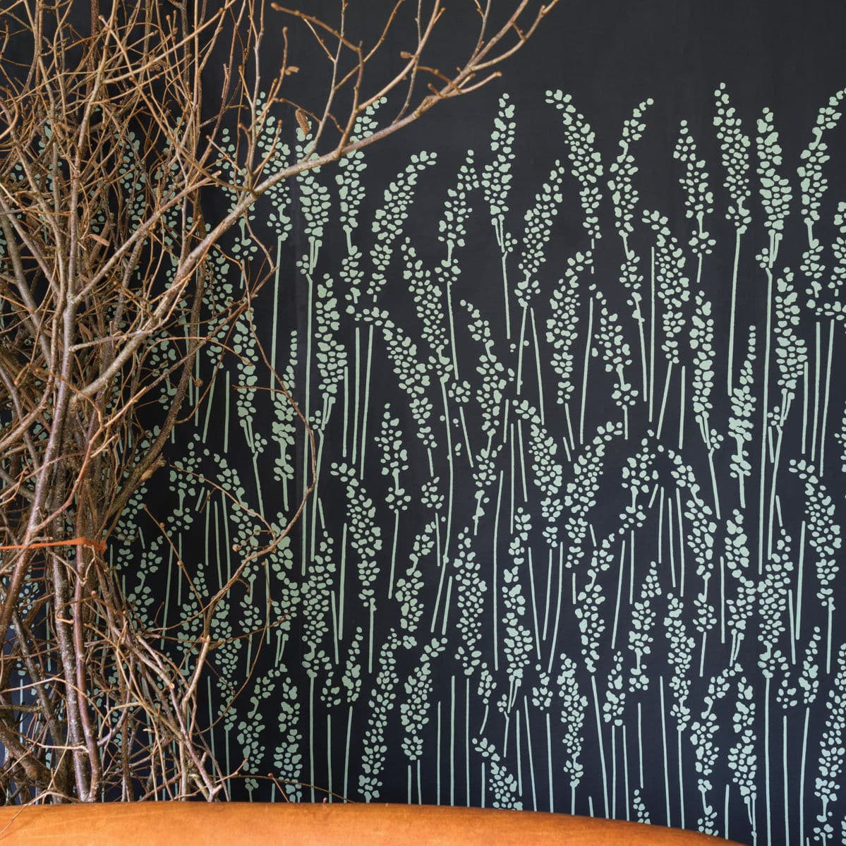 Contemporary Wallpaper Fl Feather Grass