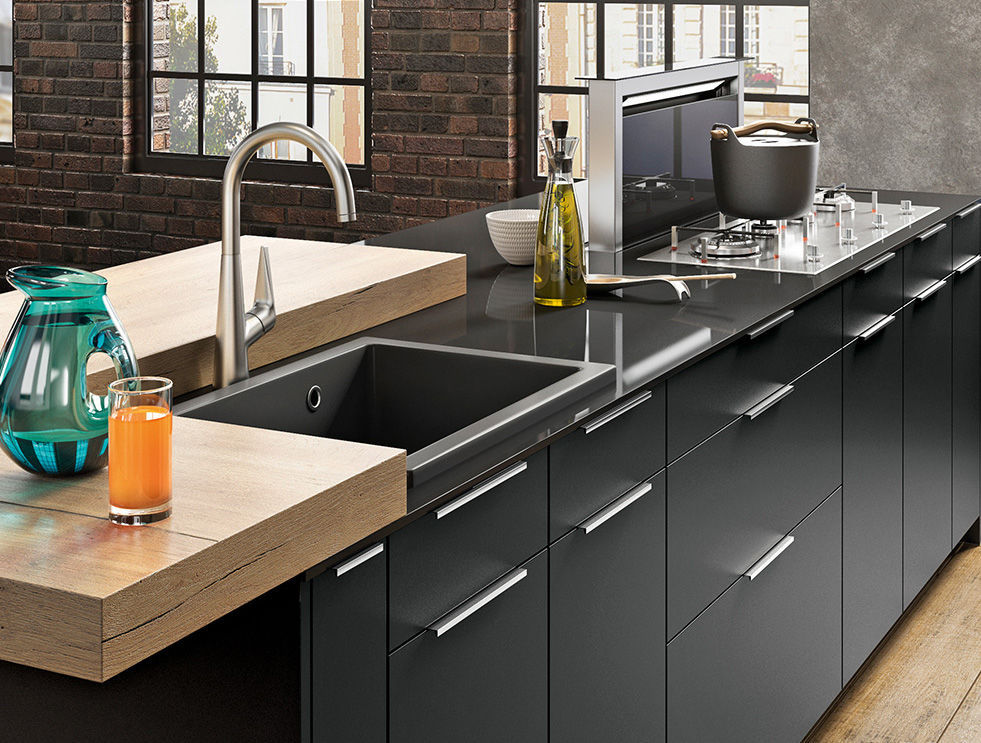 Contemporary Kitchen Oak Quartz Laminate Ambiance Factory