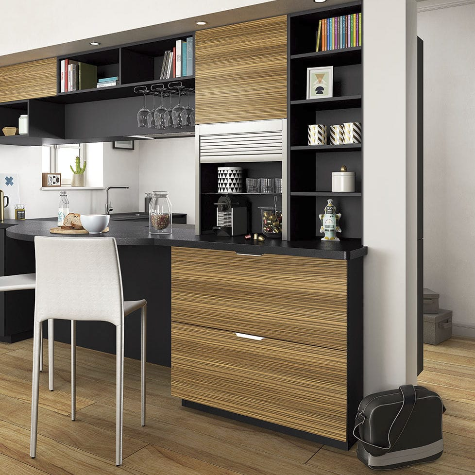 Contemporary Kitchen Wood Veneer Laminate L Shaped Ambiance