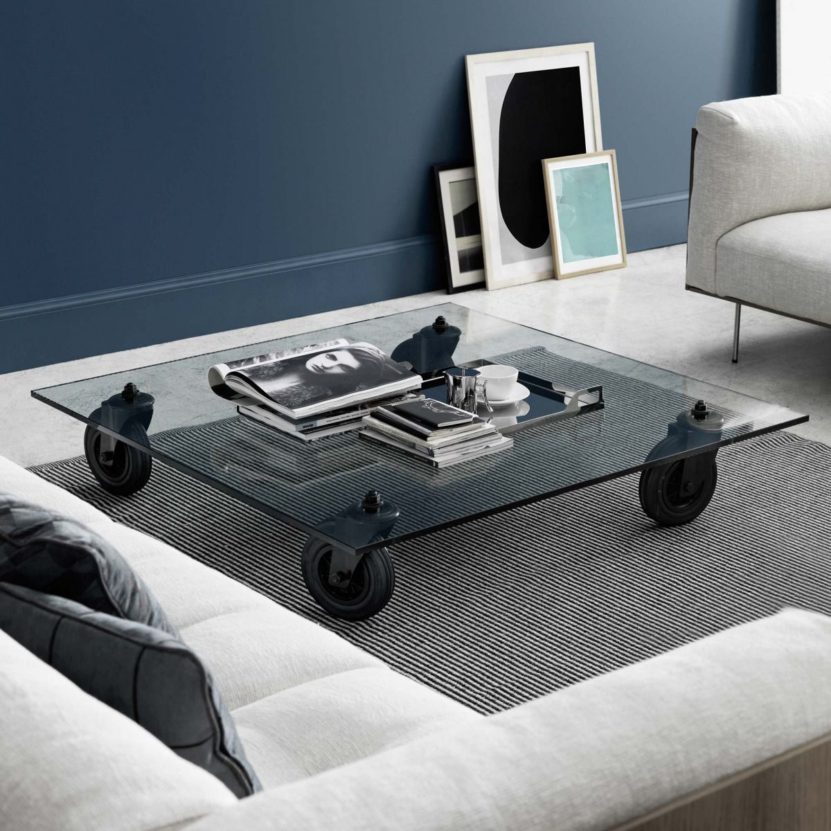 Contemporary coffee table glass square on casters con contemporary coffee table glass square on casters con ruote geotapseo Gallery