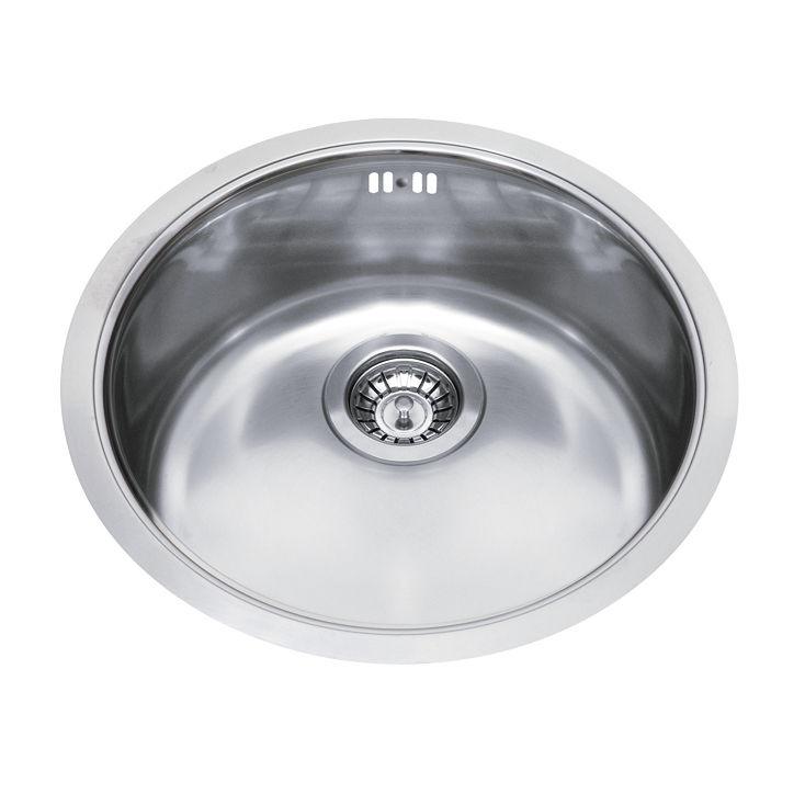 Single-bowl kitchen sink / stainless steel / round - GLR43X - GLEM ...