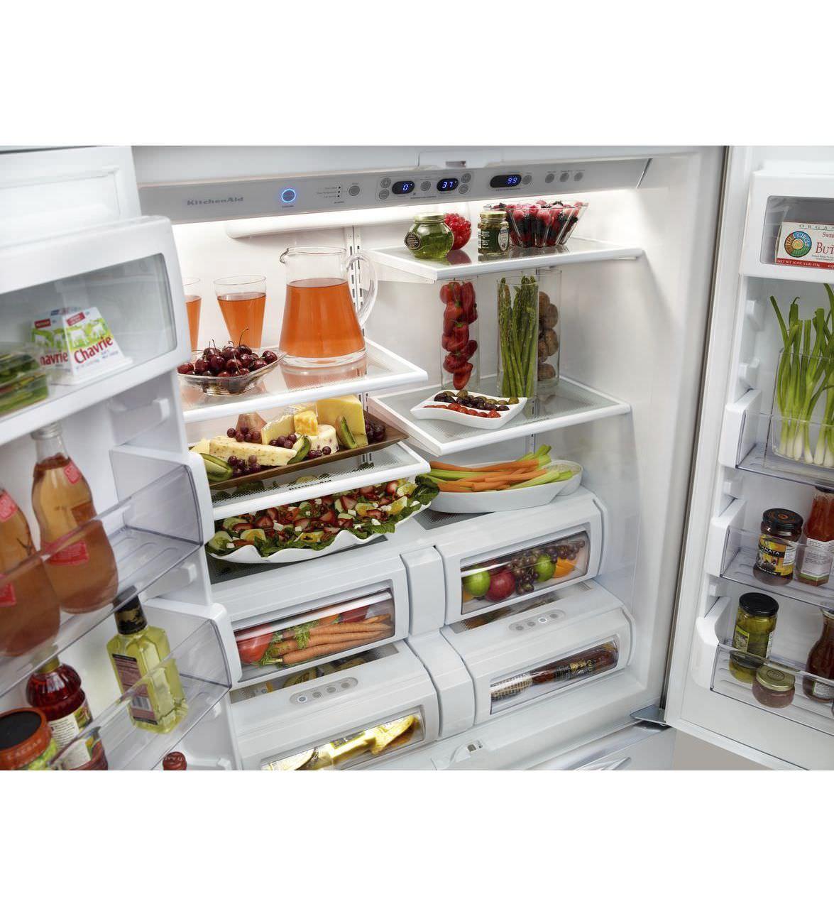American refrigerator / white / built-in - KBFO42FTX - KitchenAid