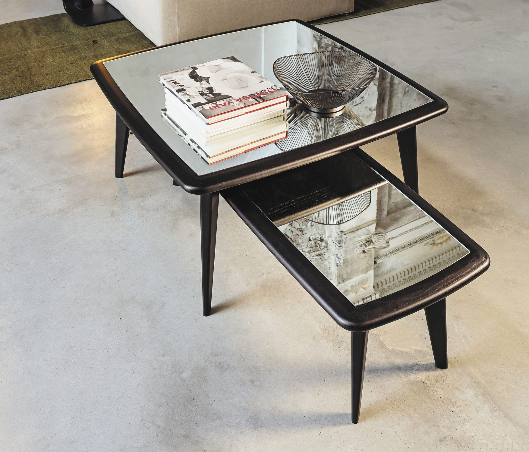 Contemporary coffee table wooden glass marble 9500 XMAX by