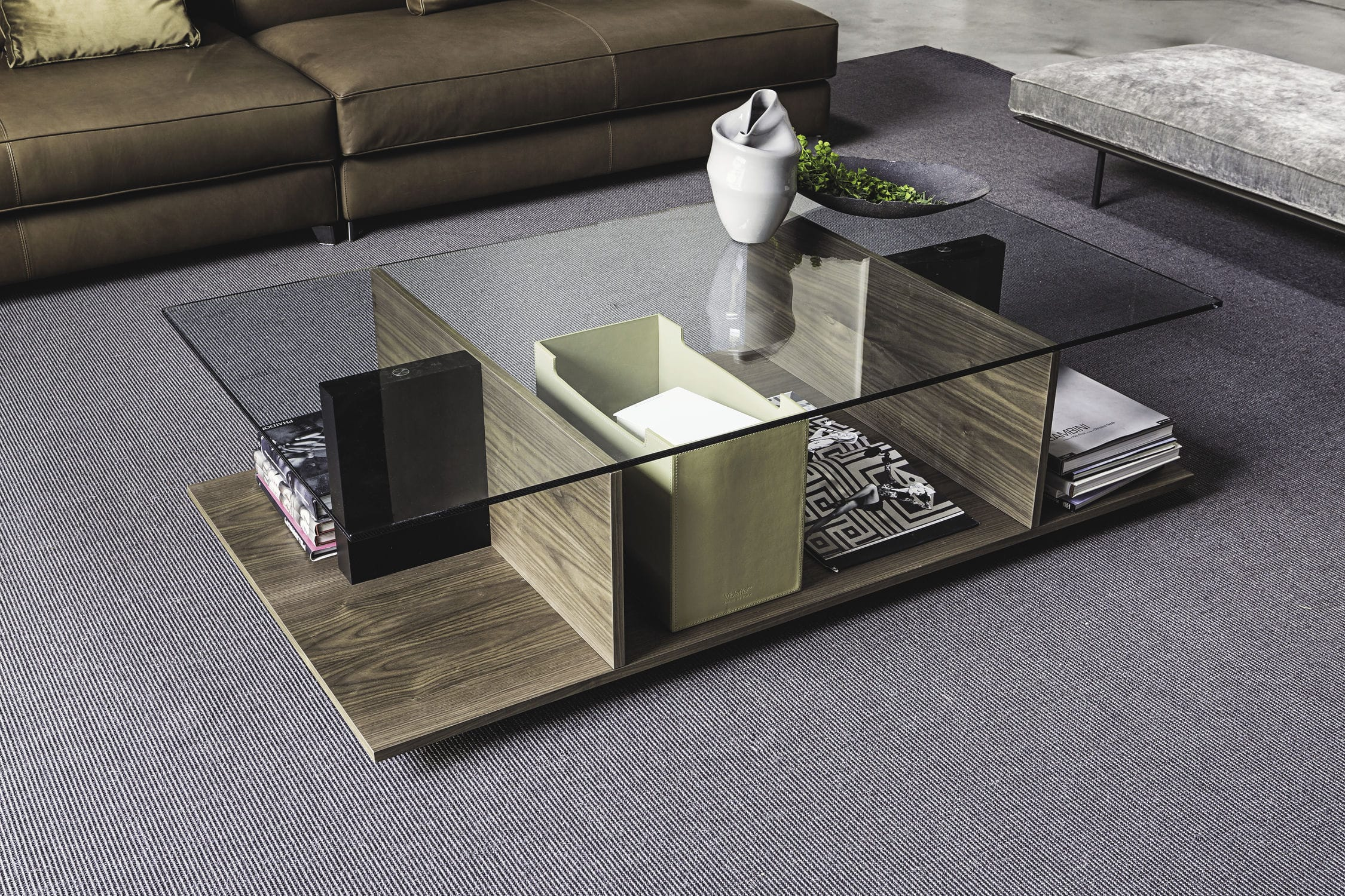 Contemporary coffee table wooden glass rectangular 9800
