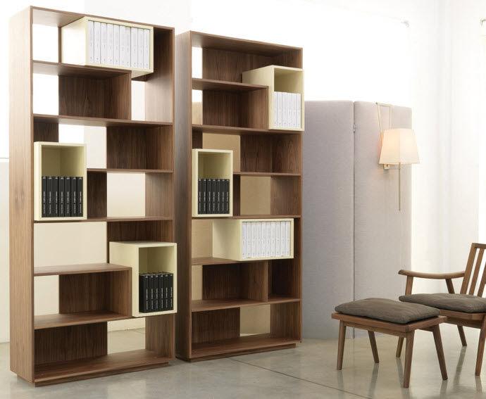 Modular Bookcase Room Divider Contemporary Wooden