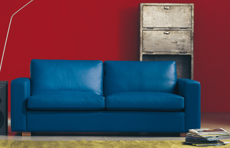 Contemporary sofa / leather / 2-seater / blue - BERLIN by Centro ...