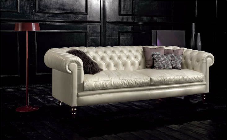 Chesterfield Sofa / Leather / 3 Seater / Beige   KENSINGTON