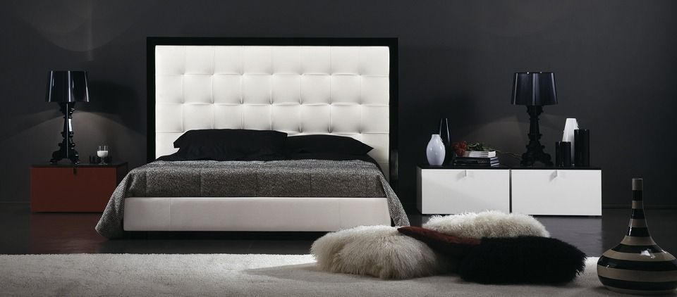 Double bed / contemporary / upholstered / leather - QUADRATUS by ...