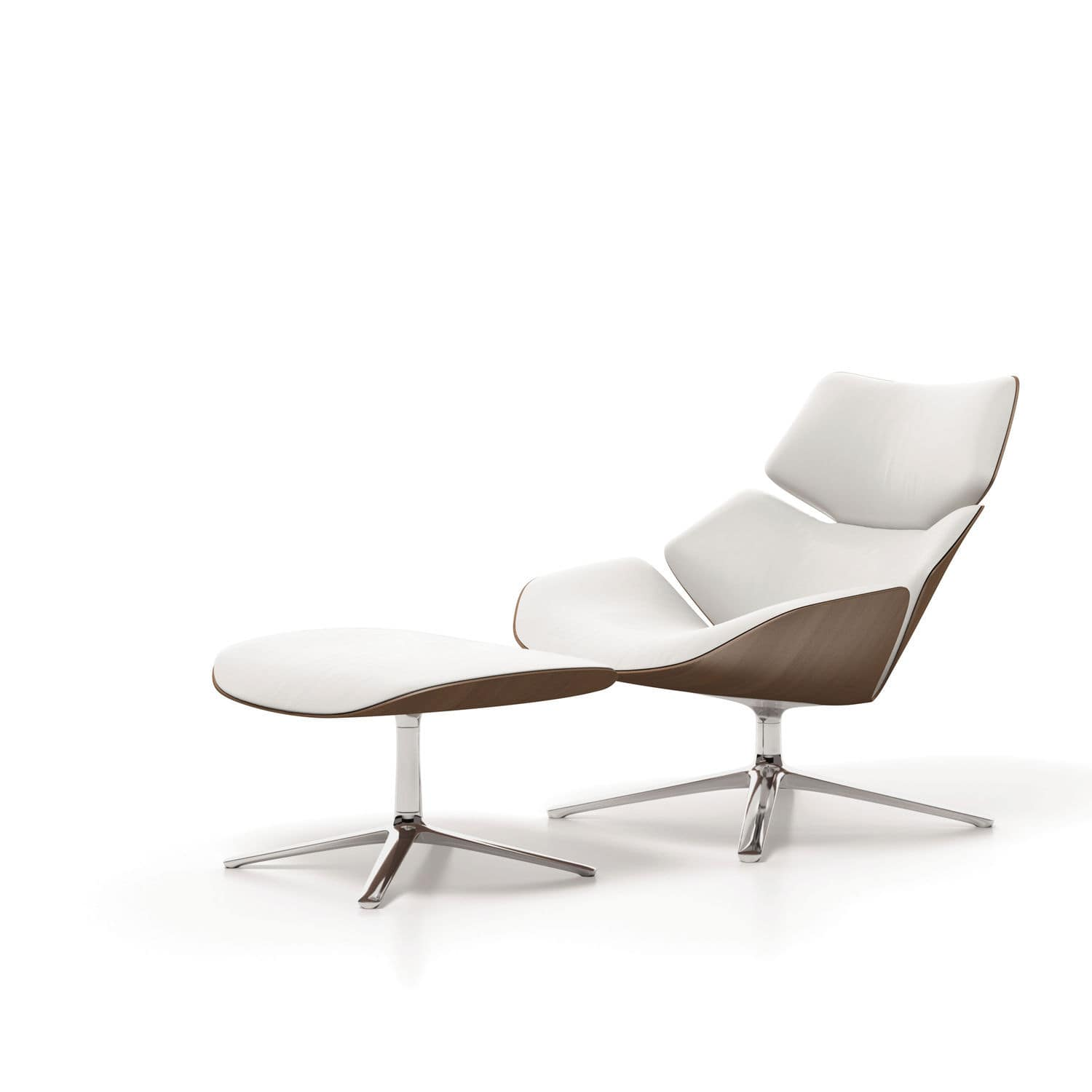 contemporary lounge chair wooden fabric leather shrimp by