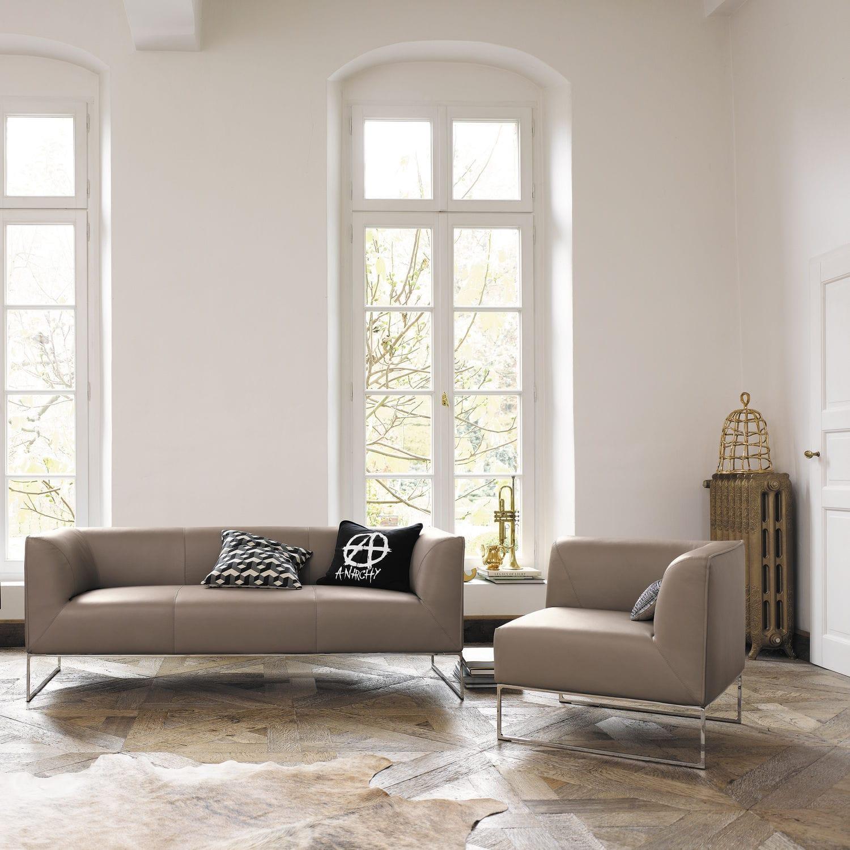 Minimalist sofa / fabric / brown - MELL by Jehs & Laub - COR