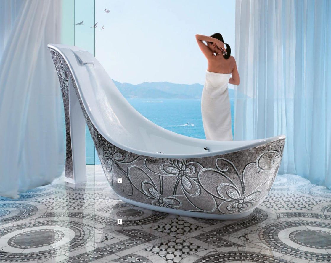 Glass bathtub surround / mosaic tile - AUDREY - SICIS - Videos