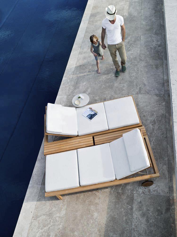 Contemporary sun lounger / teak / polyester / garden - VIS A VIS ...