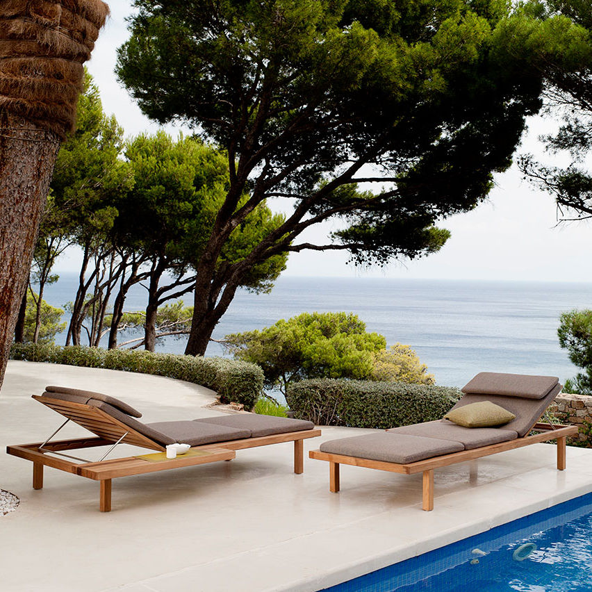 Contemporary sun lounger / teak / polyester / garden - VIS A VIS by ...
