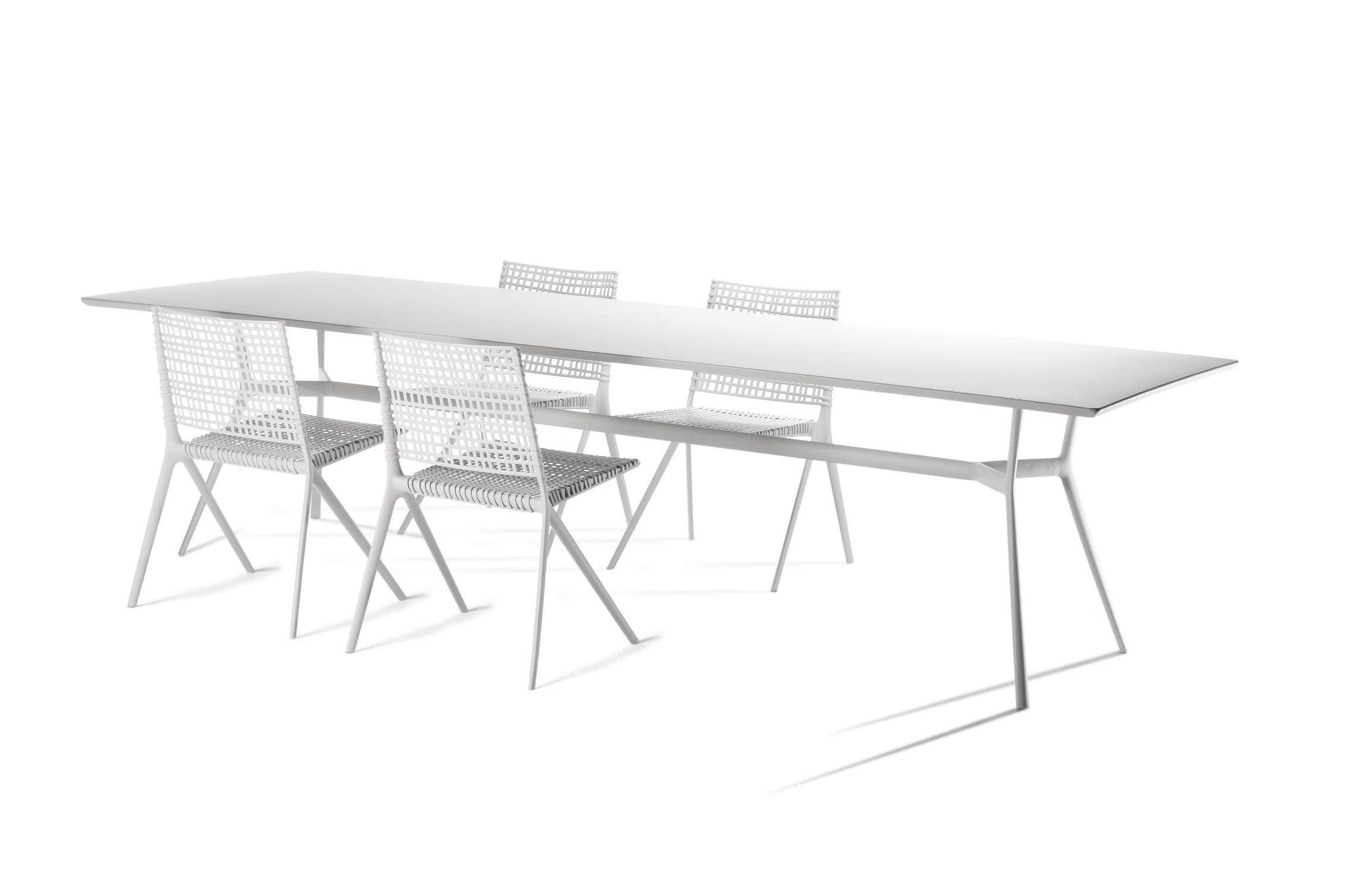 Contemporary Dining Table Cast Aluminum Rectangular Garden BRANCH TRIBU