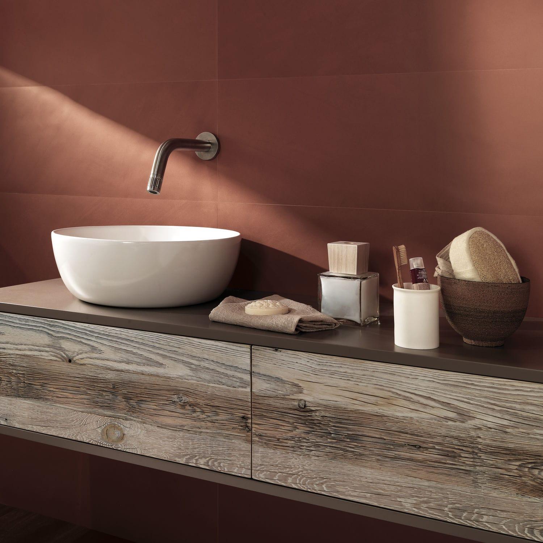 Bathroom Tile Wall Porcelain Stoneware Plain Color Now Marsala