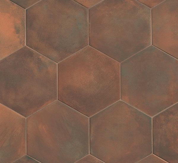 hexagonal tile indoor for floors porcelain stoneware firenze cuoio fap ceramiche