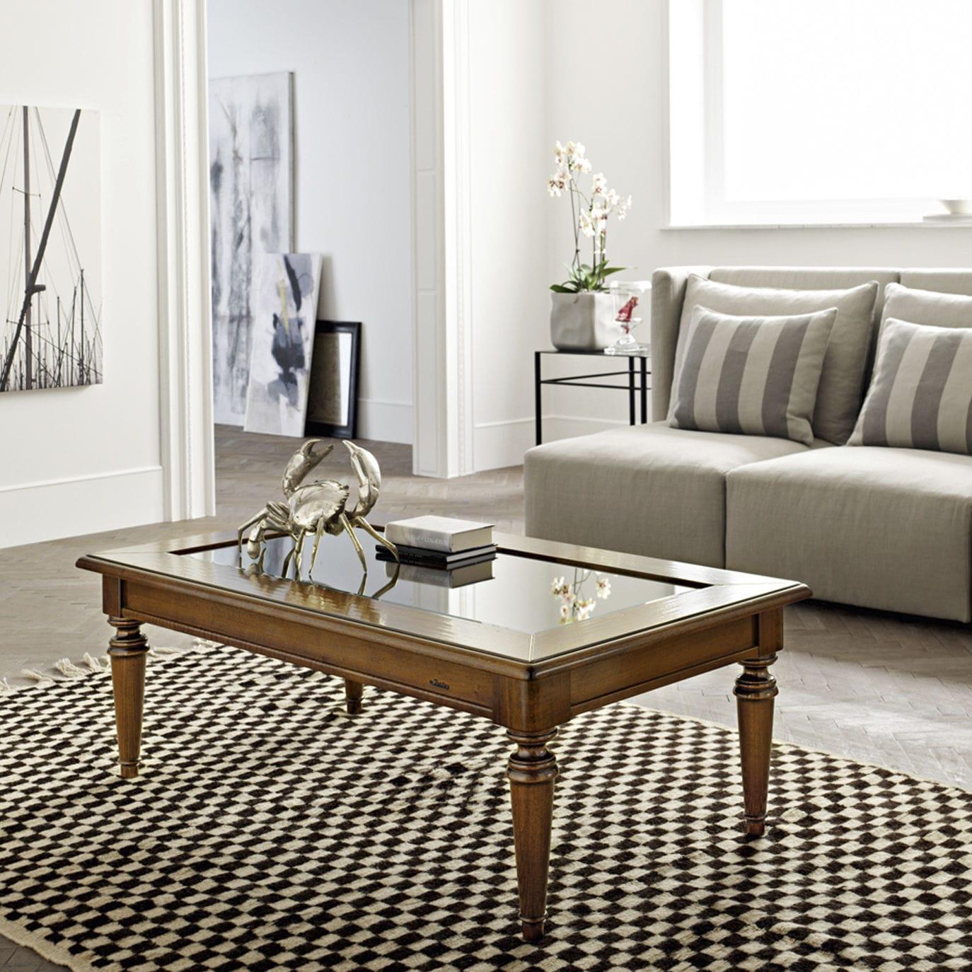 Traditional Coffee Table Walnut Gl Rectangular Arno